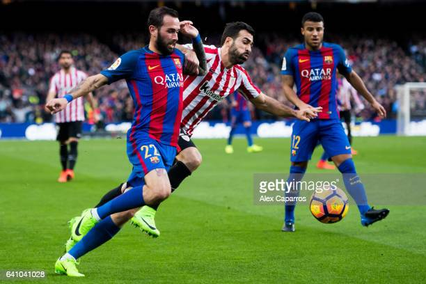 Aleix Vidal of FC Barcelona competes for the ball with Mikel Balenziaga of Athletic Club during the La Liga match between FC Barcelona and Athletic...
