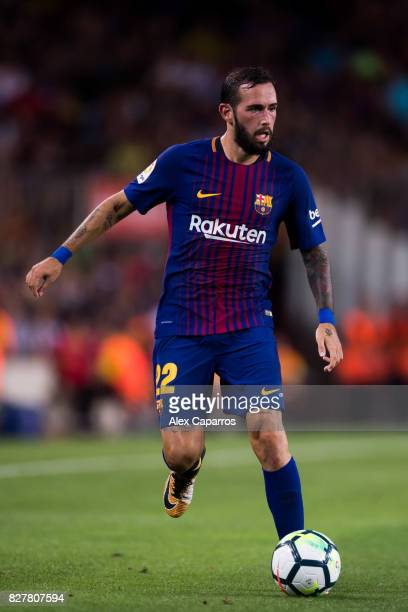 Aleix Vidal of FC Barcelona conducts the ball during the Joan Gamper Trophy match between FC Barcelona and Chapecoense at Camp Nou stadium on August...