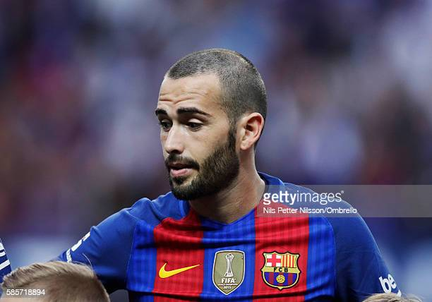 Aleix Vidal of FC Barcelona during the PreSeason Friendly between Leicester City FC and FC Barcelona at Friends arena on August 3 2016 in Solna Sweden