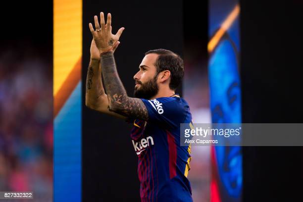 Aleix Vidal of FC Barcelona enters the pitch ahead of the Joan Gamper Trophy match between FC Barcelona and Chapecoense at Camp Nou stadium on August...