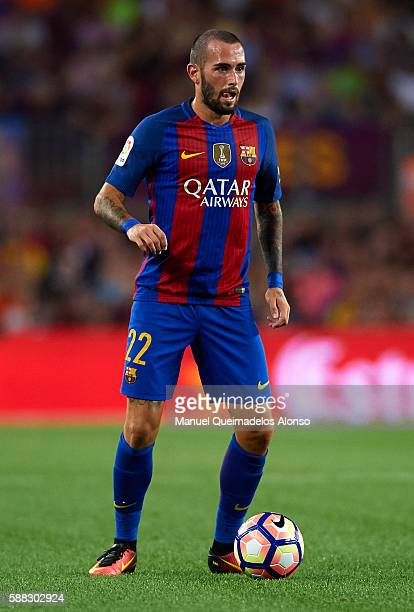 Aleix Vidal of FC Barcelona in action during the Joan Gamper trophy match between FC Barcelona and UC Sampdoria at Camp Nou on August 10 2016 in...
