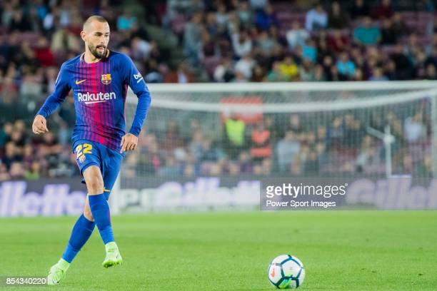 Aleix Vidal of FC Barcelona in action during the La Liga 201718 match between FC Barcelona and SD Eibar at Camp Nou on 19 September 2017 in Barcelona...
