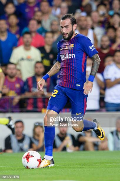 Aleix Vidal of FC Barcelona in action during the Supercopa de Espana Final 1st Leg match between FC Barcelona and Real Madrid at Camp Nou on August...