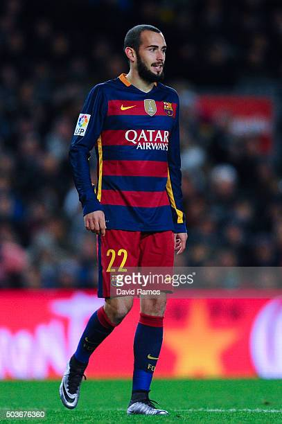 Aleix Vidal of FC Barcelona looks on during the Copa del Rey Round of 16 first leg match between FC Barcelona and RCD Espanyol at Camp Nou on January...