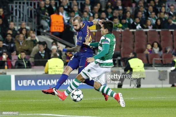 Aleix Vidal of FC Barcelona Marcos Acuna of Sporting Club de Portugal during the UEFA Champions League group D match between FC Barcelona and...