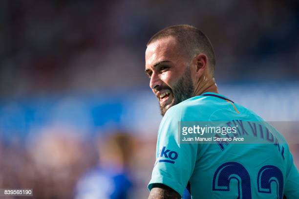Aleix Vidal of FC Barcelona reacts during the La Liga match between Deportivo Alaves and Barcelona at Estadio de Mendizorroza on August 26 2017 in...