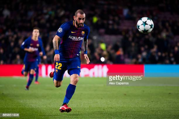 Aleix Vidal of FC Barcelona runs for the ball during the UEFA Champions League group D match between FC Barcelona and Sporting CP at Camp Nou on...