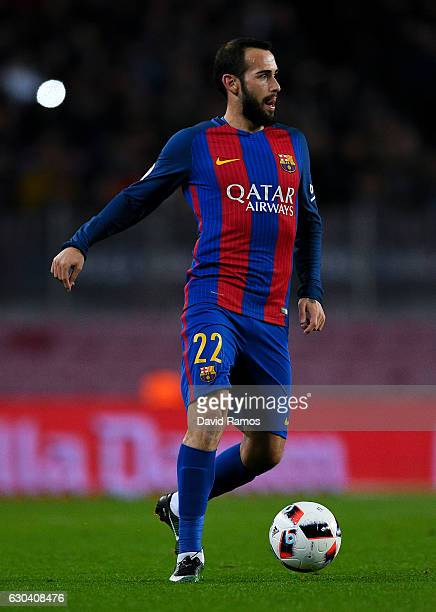 Aleix Vidal of FC Barcelona runs with the ball during the Copa del Rey round of 32 second leg match between FC Barcelona and Hercules at Camp Nou on...