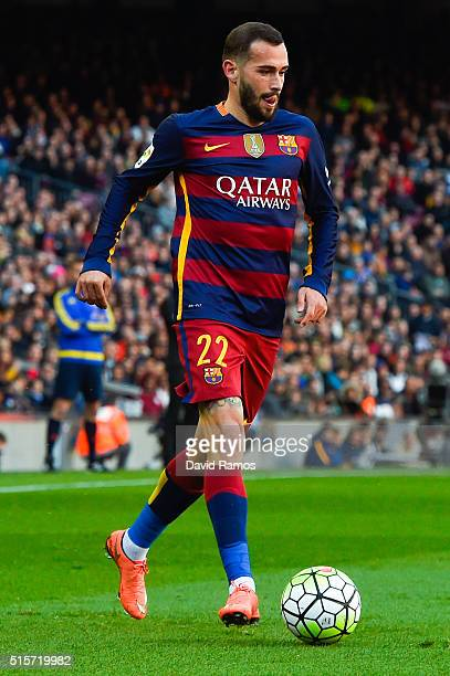 Aleix Vidal of FC Barcelona runs with the ball during the La Liga match between FC Barcelona and Getafe CF at Camp Nou on March 12 2016 in Barcelona...