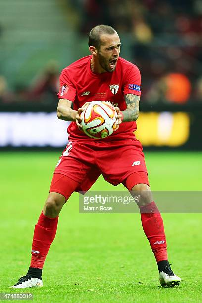 Aleix Vidal of Sevilla reacts during the UEFA Europa League Final match between FC Dnipro Dnipropetrovsk and FC Sevilla on May 27 2015 in Warsaw...