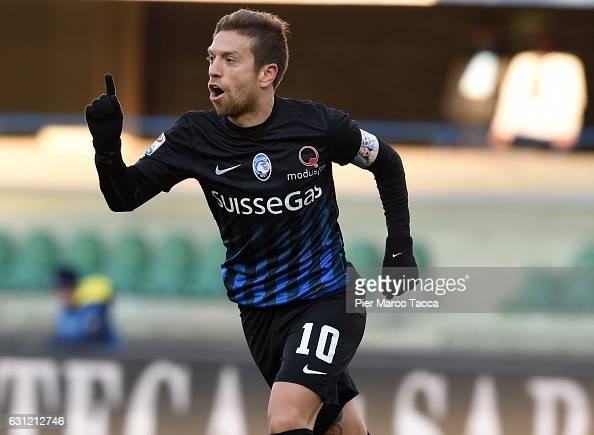 Alejando Gomez of Atalanta BC celebrates his second goal during the Serie A match between AC ChievoVerona and Atalanta BC at Stadio Marc'Antonio...