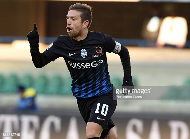 Alejando Gomez of Atalanta BC celebrates his second goal during the Serie A match between AC ChievoVerona and Atalanta BC at Stadio Marc'Antonio...