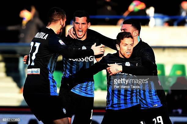 Alejando Gomez of Atalanta BC celebrates with his teamates his first goal during the Serie A match between AC ChievoVerona and Atalanta BC at Stadio...