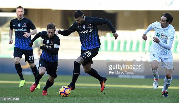 Alejando Gpomez and Andrea Conti of Atalanta BC in action during the Serie A match between AC ChievoVerona and Atalanta BC at Stadio Marc'Antonio...