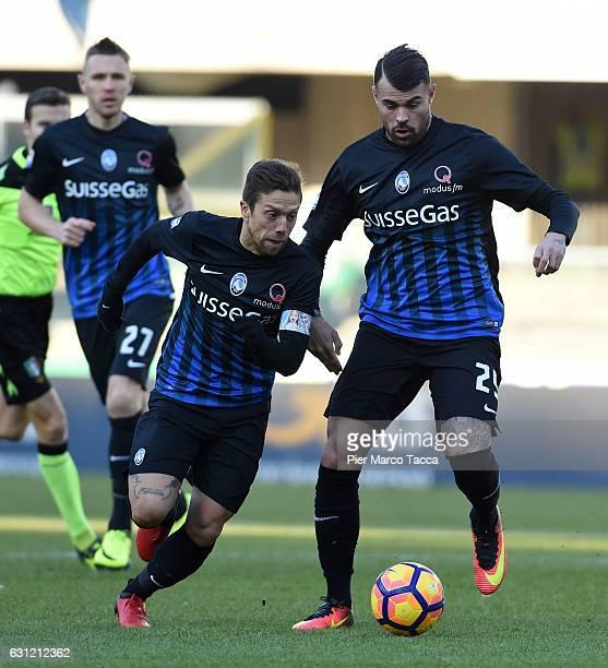 Alejando Gpomez and Andrea Conti of Atalanta BC in action during the Serie A match between AC ChievoVerona and Atalanta BC at Stadio Marc'Antonio...