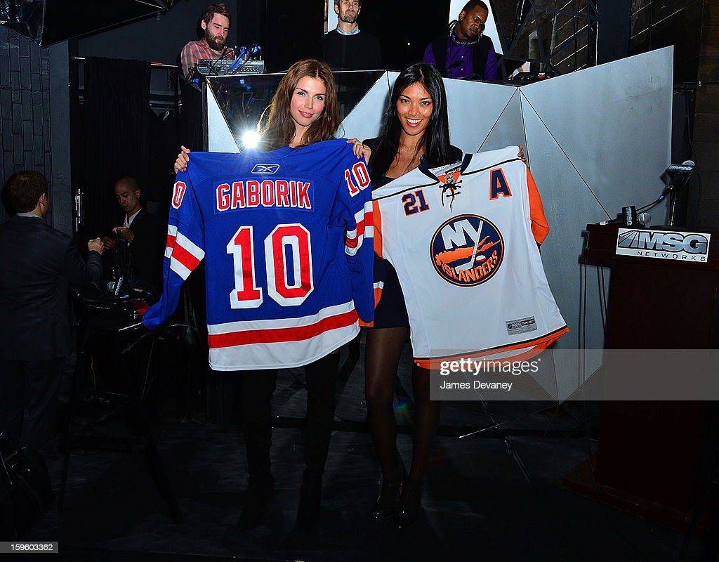 Alejandra Cata and Meki Saldana attend MSG Networks' 2013 NHL Hockey Season Celebration at Toy Restaurant on January 16, 2013 in New York City.