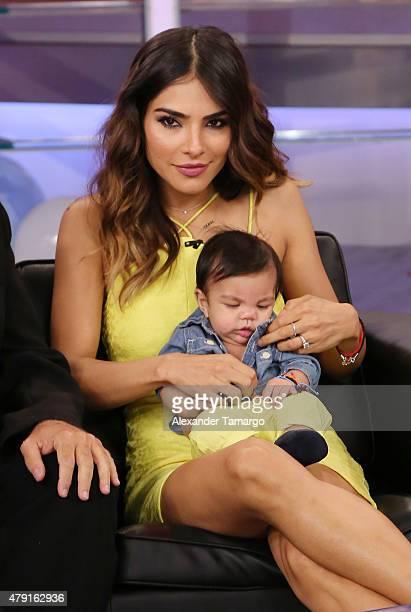 Alejandra Espinoza and Aiden Matteo Marrero Espinoza are seen on the set of 'El Gordo y La Flaca' at Univision Studios on July 1 2015 in Miami Florida