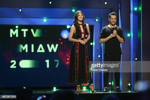 Alejandra Guilmant and Chumel Torres speak on stage during the MTV MIAW Awards 2017 at Palacio de Los Deportes on June 3 2017 in Mexico City Mexico