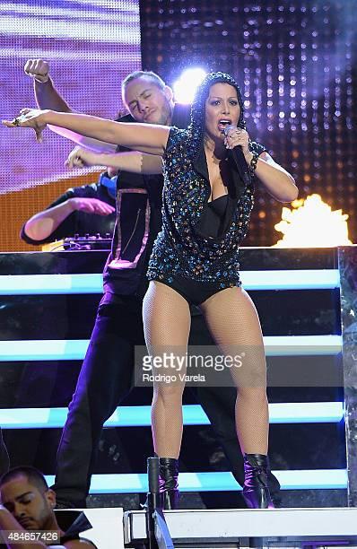 Alejandra Guzman performs onstage at Telemundo's 'Premios Tu Mundo' Awards 2015 at American Airlines Arena on August 20 2015 in Miami Florida