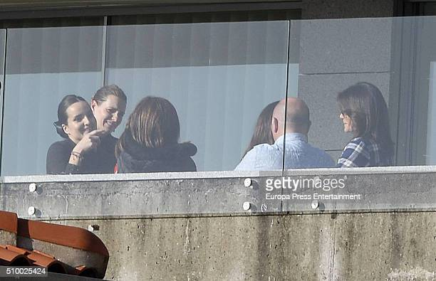 Alejandra Osborne and Fabiola Martinez are seen at Iker Casillas's home during the set filming of 'En tu casa o en la mia' Tv programme on January 28...