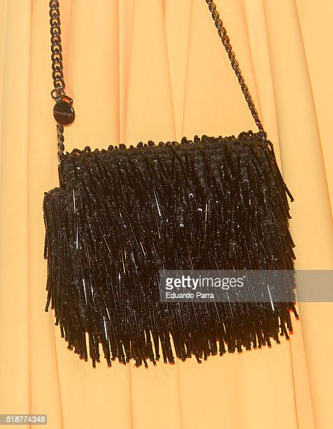 Alejandra Osborne bag detail attends the Global Gift Gala photocall at Madrid Townhall on April 2 2016 in Madrid Spain