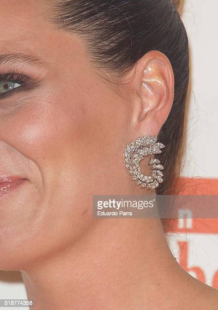 Alejandra Osborne earring detail attends the Global Gift Gala photocall at Madrid Townhall on April 2 2016 in Madrid Spain