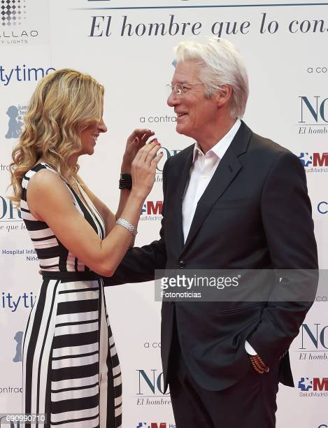 Alejandra Silva and Richard Gere attend the 'Norman The Moderate Rise and Tragic Fall of a New York Fixer' premiere at the Callao cinema on May 31...