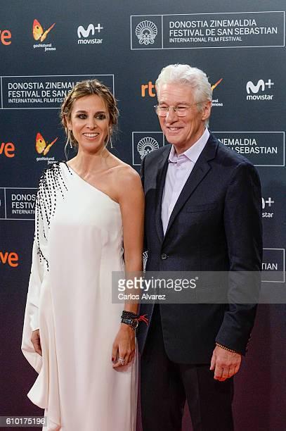 Alejandra Silva and Richard Gere attends the red carpet of the closing gala of 64th San Sebastian Film Festival at Kursaal on September 24 2016 in...