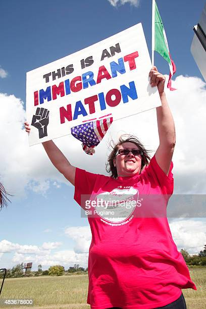 Alejandra Vargas of Saginaw Michigan protests the appearance of 2016 Republican presidential candidate Donald Trump at the venue where he will be...