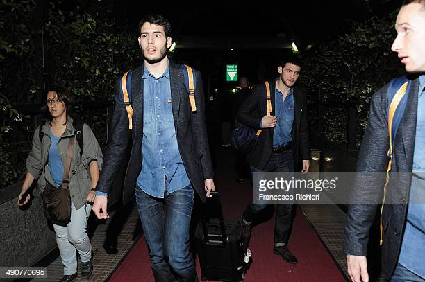 Alejandro Abrines #10 of FC Barcelona and Kostas Papanikolau #16 of FC Barcelona arrive at the to Marriot Hotel Milan as part of Turkish Airlines...