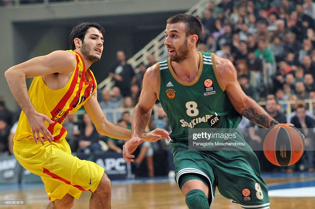Alejandro Abrines, #10 of FC Barcelona competes with Vlantimir Giankovitis, #8 of Panathinaikos Athens during the Turkish Airlines Euroleague Basketball Top 16 Date 9 game between Panathinaikos Athens v FC Barcelona at Olympic Sports Center Athens on March 5, 2015 in Athens, Greece.