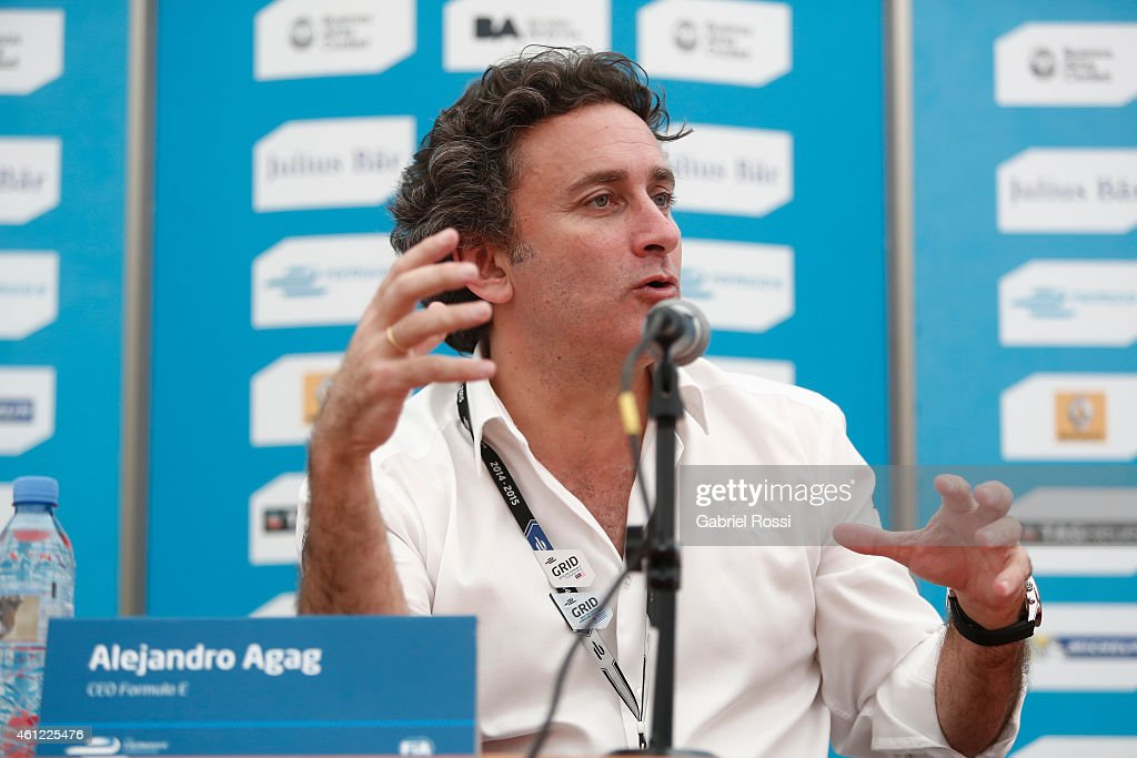 <a gi-track='captionPersonalityLinkClicked' href=/galleries/search?phrase=Alejandro+Agag&family=editorial&specificpeople=2910760 ng-click='$event.stopPropagation()'>Alejandro Agag</a> CEO of Formula E talks to the media during an official pre-event driver press conference at Media Centre Puerto Madero Street Race Track on January 09, 2015 in Buenos Aires, Argentina. This will be the fourth round of the inaugural Formula E worldwide season. The all-electric race will be held on January 10, 2015 inside a circuit alongside Puerto Madero.