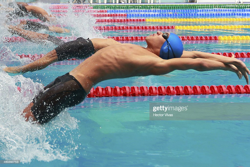 Alejandro Amarante of Dominican Republic during the 100 meters back swimming competition as part of the XVII Bolivarian Games Trujillo 2013 at pools complex of Mansiche Stadium on November 18, 2013 in Trujillo, Peru.