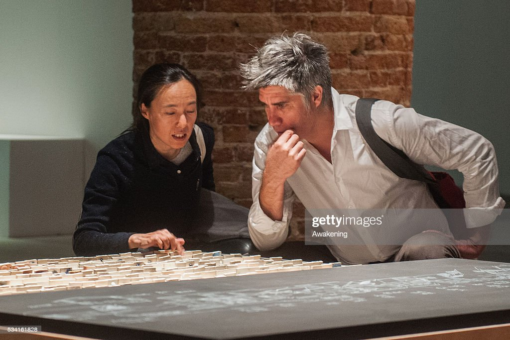 <a gi-track='captionPersonalityLinkClicked' href=/galleries/search?phrase=Alejandro+Aravena&family=editorial&specificpeople=9674135 ng-click='$event.stopPropagation()'>Alejandro Aravena</a>, curator of the 15th Architecture Venice Biennale, look the installations of the Reporting from the Front pavillon on May 25, 2016 in Venice, Italy. The 15th International Architecture Exhibition of La Biennale di Venezia will be open to the public from May 28, 2016 in Venice, Italy.