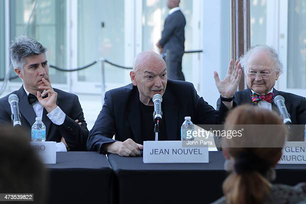 Alejandro Aravena Jean Nouvel and Glenn Murcutt speak during Pritzker Architecture Prize 2015 at New World Symphony on May 15 2015 in Miami Beach...