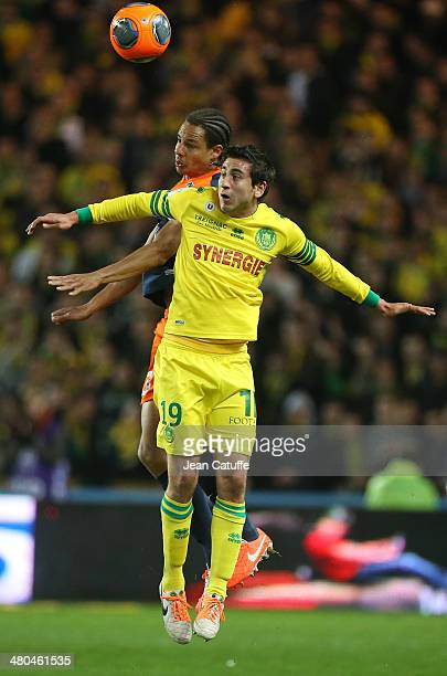 Alejandro Bedoya of Nantes and Daniel Congre of Montpellier in action during the french Ligue 1 match between FC Nantes and Montpellier Herault SC at...