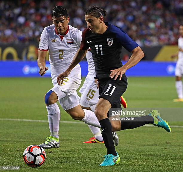 Alejandro Bedoya of the United States advances the ball against Johnny Acosta of Costa Rica during a match in the 2016 Copa America Centenario at...
