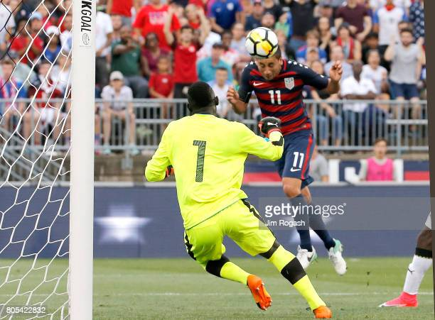 Alejandro Bedoya of the United States attempt to score against Richard Ofori of Ghana in the second half during an international friendly between USA...