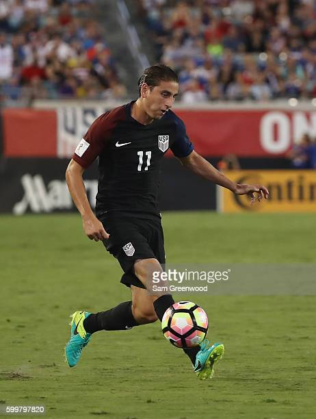 Alejandro Bedoya of the United States attempts a pass during the FIFA 2018 World Cup Qualifier against Trinidad Tobago at EverBank Field on September...