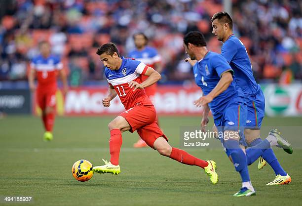 Alejandro Bedoya of the United States in action against Azerbaijan during their match at Candlestick Park on May 27 2014 in San Francisco California