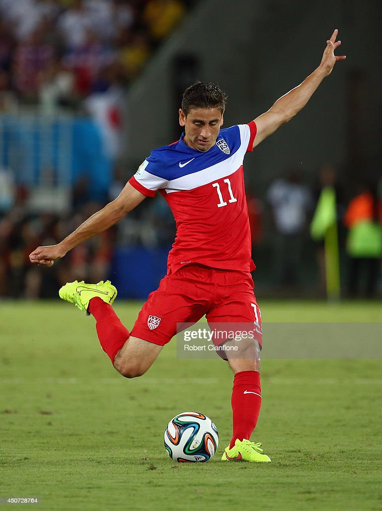 <a gi-track='captionPersonalityLinkClicked' href=/galleries/search?phrase=Alejandro+Bedoya&family=editorial&specificpeople=6703886 ng-click='$event.stopPropagation()'>Alejandro Bedoya</a> of the United States kicks the ball during the 2014 FIFA World Cup Brazil Group G match between Ghana and the United States at Estadio das Dunas on June 16, 2014 in Natal, Brazil.