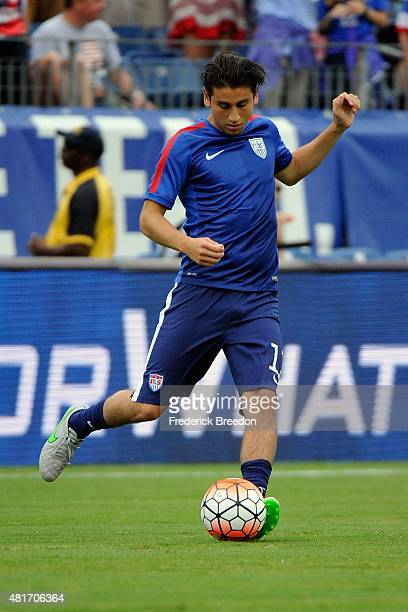 Alejandro Bedoya of the United States men's National team warms up prior to an international friendly match against Guatemala at Nissan Stadium on...
