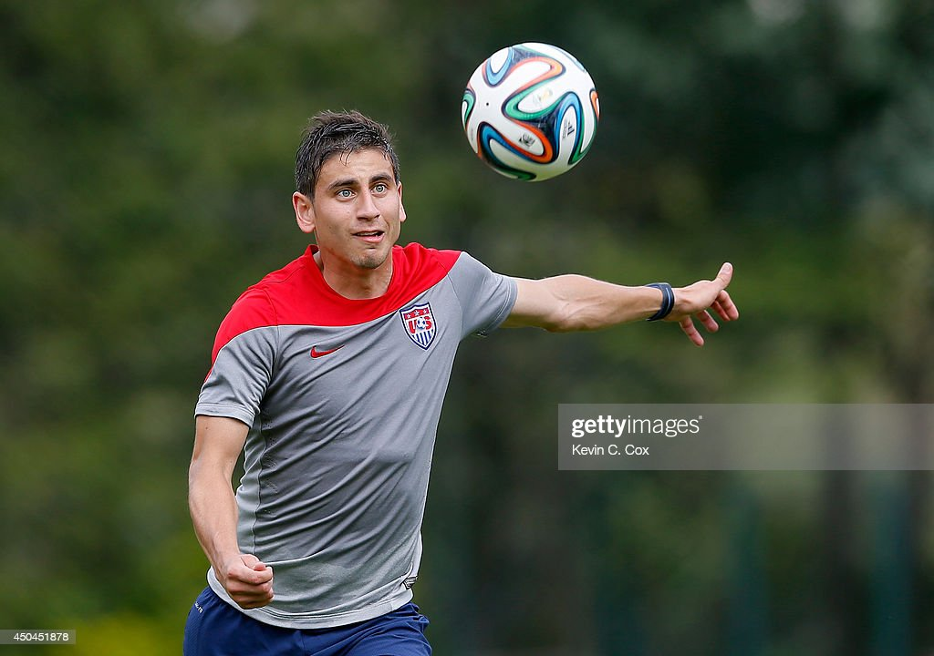 <a gi-track='captionPersonalityLinkClicked' href=/galleries/search?phrase=Alejandro+Bedoya&family=editorial&specificpeople=6703886 ng-click='$event.stopPropagation()'>Alejandro Bedoya</a> of the United States runs drills during their training session at Sao Paulo FC on June 11, 2014 in Sao Paulo, Brazil.