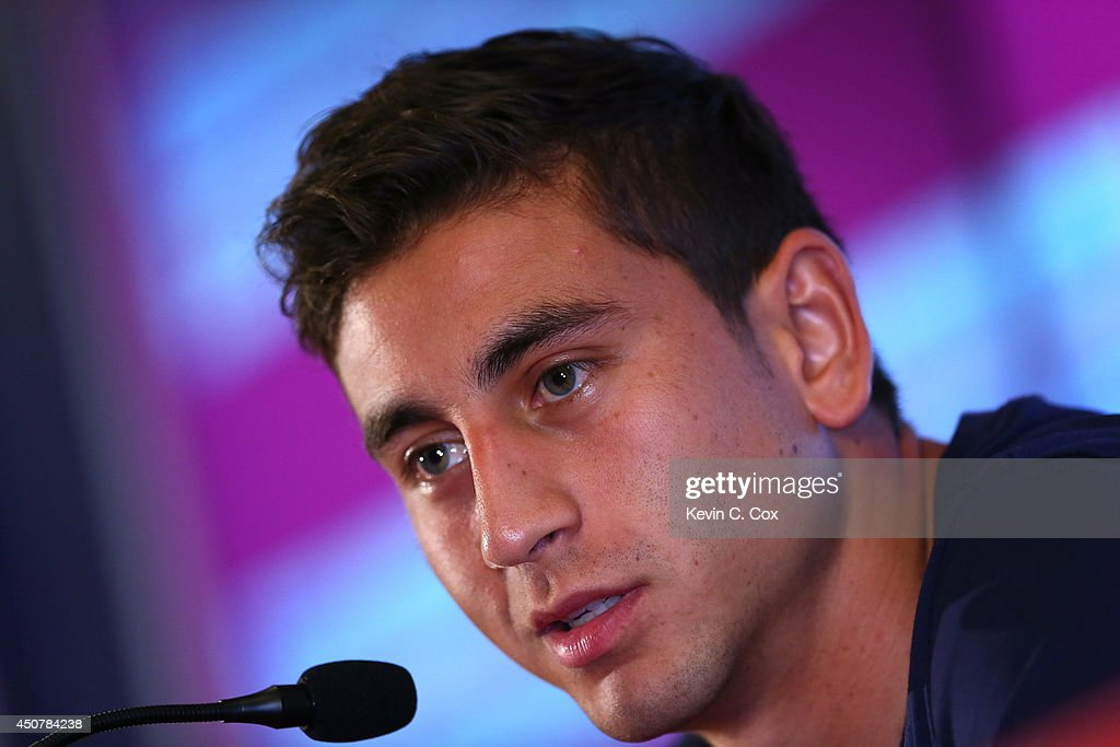 <a gi-track='captionPersonalityLinkClicked' href=/galleries/search?phrase=Alejandro+Bedoya&family=editorial&specificpeople=6703886 ng-click='$event.stopPropagation()'>Alejandro Bedoya</a> of the United States speaks to the media at Sao Paulo FC on June 17, 2014 in Sao Paulo, Brazil.