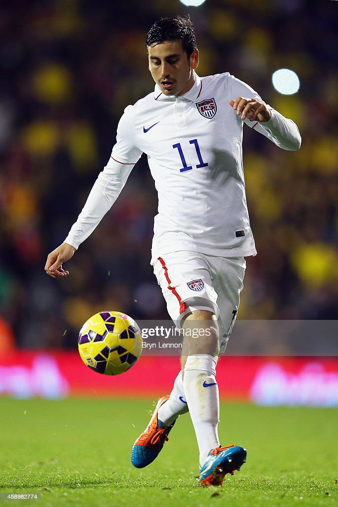 <a gi-track='captionPersonalityLinkClicked' href=/galleries/search?phrase=Alejandro+Bedoya&family=editorial&specificpeople=6703886 ng-click='$event.stopPropagation()'>Alejandro Bedoya</a> of the USA in action during the International Friendly between the USA and Colombia at Craven Cottage on November 14, 2014 in London, England.