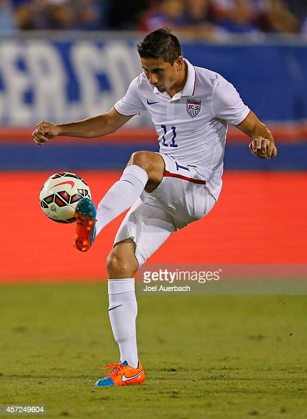 Alejandro Bedoya of the USA takes a pass during first half action against Honduras during an International Friendly match on October 14 2014 at FAU...