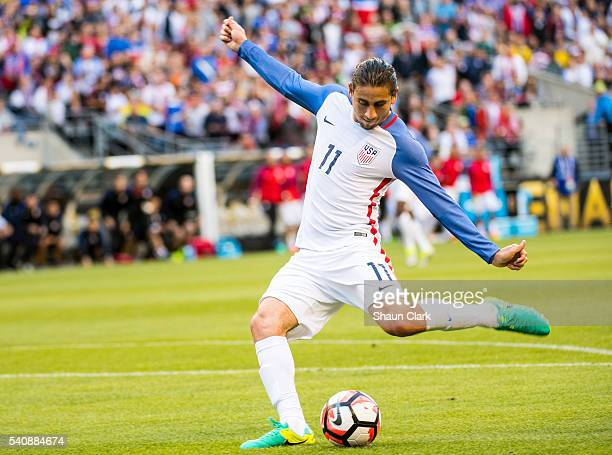 Alejandro Bedoya of United States takes a shot during the Copa America Centenario Quarterfinal match between United States and Ecuador at CenturyLink...