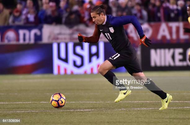 Alejandro Bedoya of USA plays against Jamaica during a friendly international match at Finley Stadium on February 3 2017 in Chattanooga Tennessee