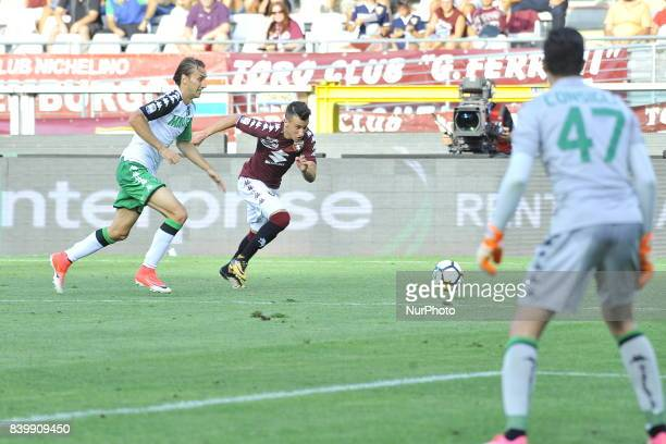 Alejandro Berenguer in action during the Serie A football match between Torino FC and US Sassuolo at Olympic Grande Torino Stadium on august 27 2017...