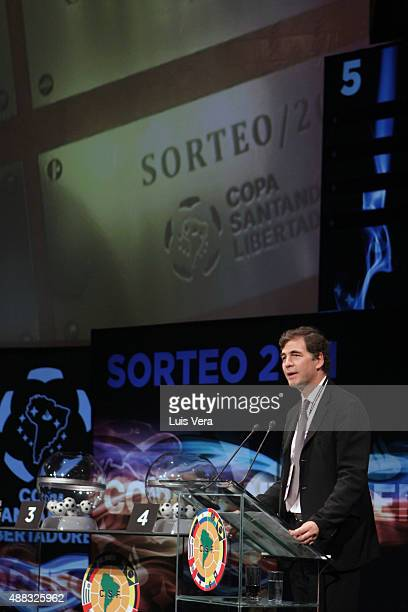 Alejandro Burzaco general manager of TyC Sport speaks during the draw of the 2011 Santander Libertadores Cup at Conmebol Conventions Center on...